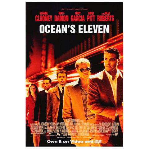 Ocean's Eleven Movie Poster 27x40 Used Julia Roberts, Barry Brandt, Scott Caan, JP Manoux, Mark Gantt, Jim Lampley, Carol Florence, Frankie J Allison, Tim Snay, Brad Pitt, Angie Dickinson, Roy Horn, George