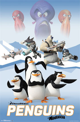 Penguins of Madagascar - Cast Movie Poster RP13695 UPC882663036950 POM Dreamworks