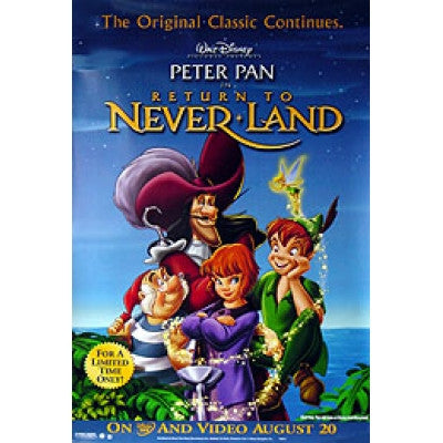 Peter Pan Return To Never-Land 2002 Movie Poster 27x40 Used Disney