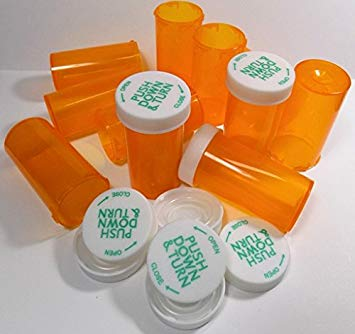 bf737a5350bc Empty Plastic RX Pill Medicine Bottles Containers Amber Reversible Lids  Storage Used