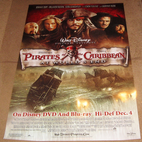 Pirates Of The Caribbean At Worlds End 2007 Movie Poster 27x40 Used Disney Johnny Depp, Orlando Bloom, Yun-Fat Chow,
