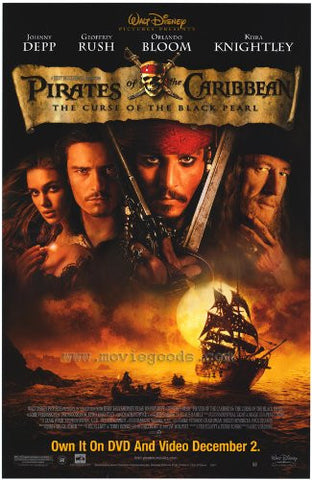 Pirates of the Caribbean Curse of the Black Pearl Movie Poster 27X40 Used Disney Johnny Depp, Jonathan Pryce, Dylan Smith, Georges Trillat, Robbie Gee, Brye Cooper, Guy Siner, Greg Ellis, Keira Knightley, David Schofield, John Boswall, Geoffrey Rush