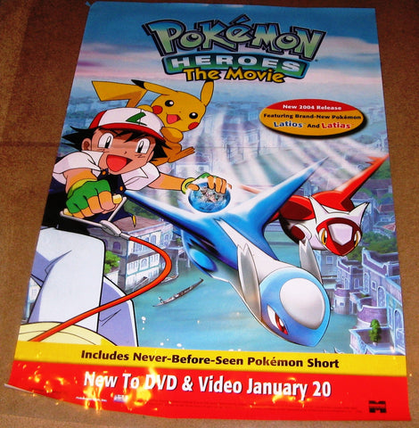 Pokemon Heroes The Movie 2003 Movie Poster 27x40 Used