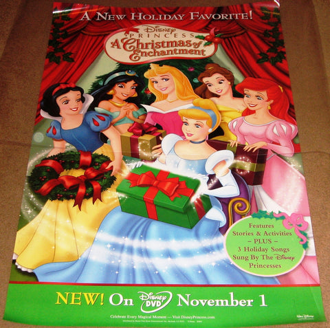 Princess A Christmas of Enchantment Movie Poster (2005) 27x40 Used Walt Disney