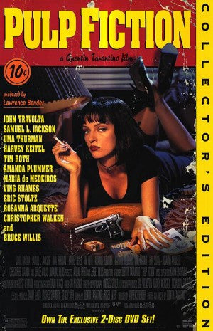 Pulp Fiction 1994 Movie Poster 27x40 Used Collectors Edition Rare Quentin Tarantino Film, Uma Thurman, Bruce Willis, Eric Stoltz, Christopher Walken