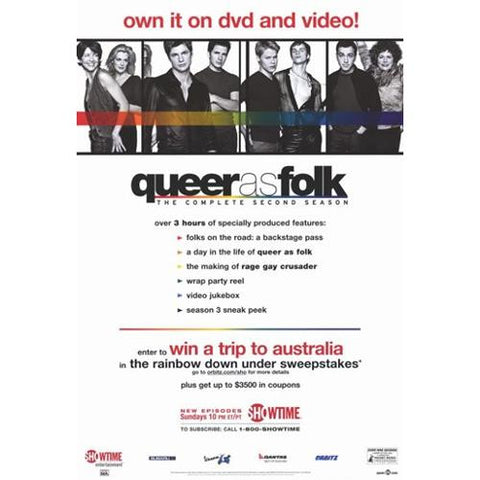 Queer as Folk the Complete Second Season Movie Poster 27x40  Used Michelle Clunie, Peter Paige, Scott Lowell, Sharon Gless, Thea Gill, Robert Gant, Hal Sparks