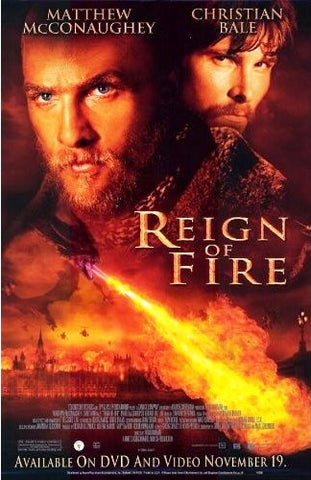 Reign of Fire Movie Poster 27x40 Used Gerard Butler, Ned Dennehy, Brian McGuinness, Patrick Foy, Rory Keenan, Matthew McConaughey, Christian Bale, Gerry O'Brien, David Kennedy, Alice Krige, David Herlihy