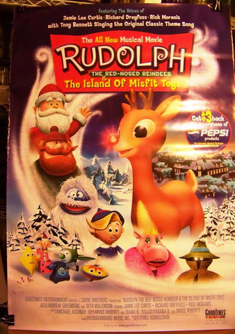 Rudolph The Red-Nosed Reindeer & The Island Of Misfit Toys Movie Posters 27x40 (2001) Used Peter Kelamis, Richard Dreyfuss, Terry Klassen, Elizabeth Carol Savenkoff, Jamie Lee Curtis, Scott McNeil, Alec Willows, Gary Chalk, Rick Moranis, Don Brown