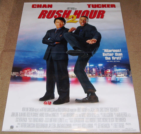 Rush Hour 2 Movie Poster 27x40 Used Jackie Chan, Lina So, Michael A Tessiero, Michael Chow, Saul Rubinek, Melissa Biggs, Tom Sean Foley, Kenneth Tsang, Constance Hsu, Harris Yulin, William Tuen, Gelbert Coloma, Don Cheadle, Chris Tucker