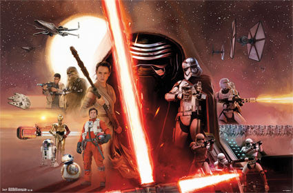 SWTFA - Group Movie Poster 22x34 RP14014 UPC882663040148 Star Wars The Force Awakens