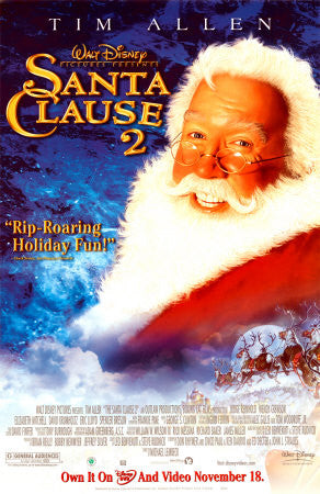 Santa Clause 2 Movie Poster 27x40 Used Walt Disney, Fred Keating, Myles Jeffrey, Charles Payne, Liliana Mumy, Nicola Anderson, Leanne Adachi, Aisha Tyler, Valerie Tian, Tim Allen, Molly Shannon, Ryan James, Kath Soucie, David Krumholtz