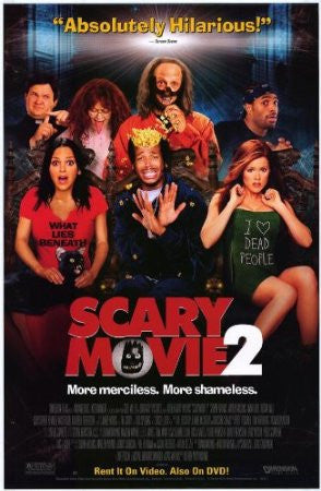 Scary Movie 2 Movie Poster 27x40 Used Robert Schimmel, Regina Hall, Tim Curry, Marlon Wayans, David Cross, Richard Moll, Suli McCullough, Shawn Wayans, Christopher Masterson, Andy Richter, Anna Faris