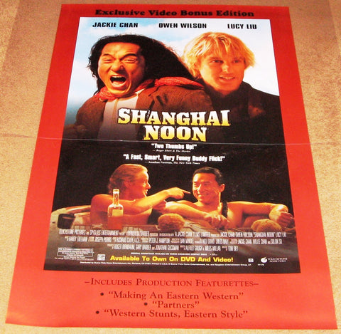 Shanghai Noon Movie Poster 27x40 Used Owen Wilson Valerie Planche