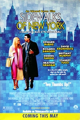 Sidewalks Of New York Movie Poster 27x40 Used Stanley Tucci, Dennis Farina, Rosario Dawson, Penny Balfour, Callie Thorne, David Krumholtz, Kathleen Doyle, Timothy Jerome, Edward Burns, Ted Neustadt, Heather Graham, Brittany Murphy, Nadia Dajani