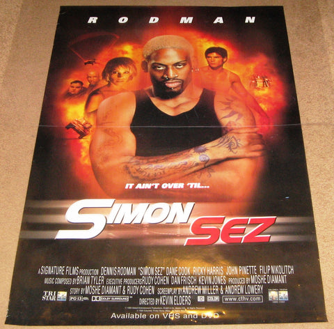 Simon Sez 1999 Movie Poster 27x40 Used Dennis Rodman