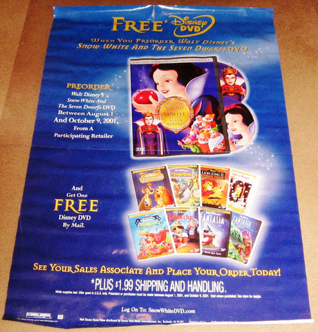 Snow White and the Seven Dwarfs DVD Poster 27x40 RP0000 Used Disney Billy Gilbert, Eddie Collins, Moroni Olsen, James MacDonald, Otis Harlan, Adriana Caselotti, Pinto Colvig, Lucille La Verne, Roy Atwell, Hall Johnson Choir, Scotty Mattraw