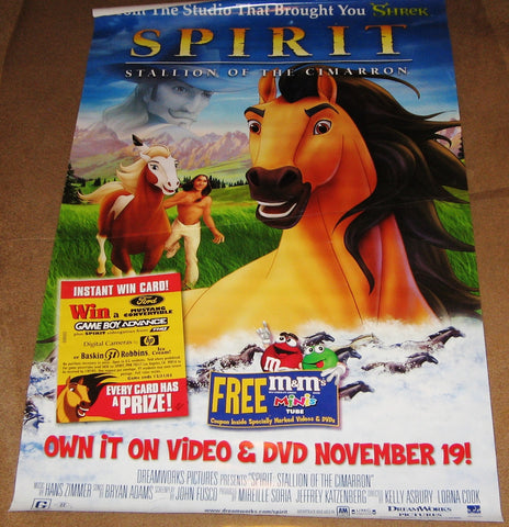 Spirit Movie Poster 27x40 Used Anders W Berthelsen, Matt Levin, Jeff LeBeau, Thure Lindhardt, Zahn McClarnon, Adam Paul, Kristian Boland, Chopper Bernet, Matt Damon, Charles Napier