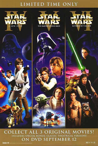 Star Wars Trilogy Movie Poster 27x40 (2006) Used George Lucas