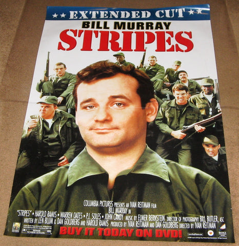 Stripes Extended Cut Movie Poster 27x40 Used Judge Reinhold, John Candy, Conrad Dunn, Michael King, Susan Mechsner, Donald Gibb, Lois Hamilton, PJ Soles, Bill Murray, Dave Thomas, John Voldstad, Bill Paxton, Joe Flaherty, Dennis Quaid
