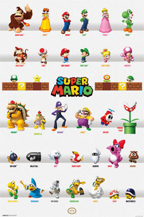 Super Mario Character Grid Game Poster 22x34 Rp10058