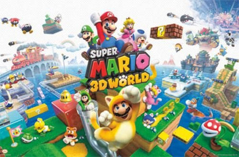 Super Mario 3D World Game Poster 24x36 Nintendo