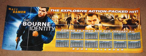 The Bourne Identity Movie Poster 2003 Calendar 10x30  Used Matt Damon