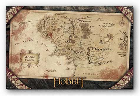 The Hobbit - Map Movie Poster 22x34 RP5809 UPC017681058091