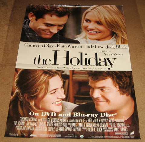 The Holiday Movie Poster 27x40 Used Kathryn Hahn, Jack Black, Shelley Berman, Cameron Diaz, Jacob Head, Lindsay Lohan, Dustin Hoffman, Shannyn Sossamon, Kate Winslet, Leanne Wilson, Patrick Cavanaugh