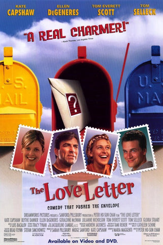 The Love Letter Movie Poster 27x40 Used Kate Capshaw, Tom Selleck, Jessica Capshaw, Erik Jensen, Geraldine McEwan, Ellen DeGeneres, Gloria Stuart, Alice Drummond, Bill Buell, Tom Everett Scott, Marilyn Rockafellow