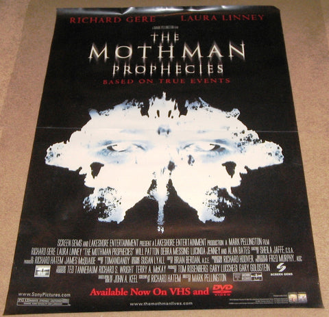 The Mothman Prophecies Movie Poster 27x40 Used John W Iwanonkiw, Debra Messing, Dan Callahan, David Eigenberg, Rohn Thomas, Tom Tully, Shane Callahan, Tony Amen, Richard Gere, Nesbitt Blaisdell, Tom Stoviak
