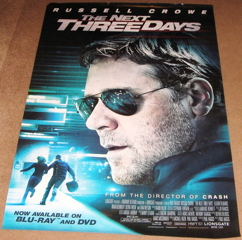 The Next Three Days Movie Poster 27x40  Used 3 Brian Dennehy, Patrick Jordan, Jeff Hochendoner, Patrick Brennan, Aaron Bernard, Patrick McDade, Allan Steele, William Kania, Denise Dal Vera, Jonathan Tucker, Olivia Wilde, Helen Carey, Russell Crowe