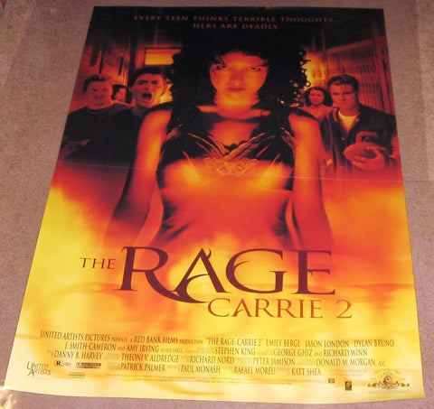 The Rage Carrie 2 Movie Poster 27x40	 Used Stephen King, Rachel Blanchard, David Lenthall, Christopher Daniels, Mena Suvari, Harry Gold, Kate Skinner, Sissy Spacek, John Doe, Steven Ford, Justin Urich, Colin Fickes, William Katt