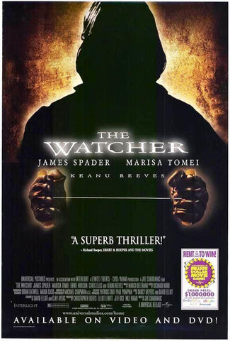 The Watcher Movie Poster 27x40 Used Keanu Reeves, James Spader, Rich Komenich, Michael Nicolosi, Jenny McShane, Marisa Tomei, Rebeca Arthur, Robert Cicchini, Joseph Sikora, Andrew Rothenberg