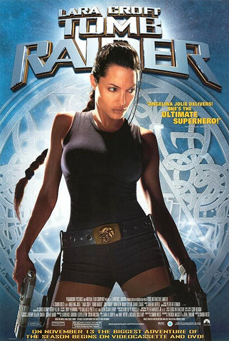 Tomb Raider Movie Poster 27x40 Lara Croft Used Angelina Jolie, Olegar Fedoro, Robert Phillips, James Embree, Jimmy Roussounis, Chris Barrie, Carl Chase, Sylvano Clarke, Richard Johnson, Jon Voight, Julian Rhind-Tutt, Daniel Craig, Noah Taylor
