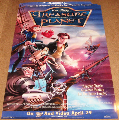 Treasure Planet Movie Poster 27x40 Used Disney Roscoe Lee Browne, Laurie Metcalf, Joseph Gordon-Levitt, Patrick McGoohan, Corey Burton, Tony Jay, Jeremy Suarez, Phil Proctor, Sherry Lynn, Paul Eiding, John Cygan