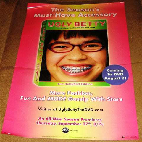 Ugly Betty the Complete First Season DVD TV Show Poster 27x40 Used Vanessa Williams, Christopher Gorham, America Ferrera, Tony Plana, Ana Ortiz, Judith Light, Eric Mabius, Ashley Jensen