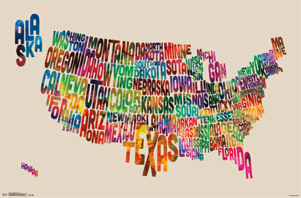 United States - Map Text 22x34 RP13479