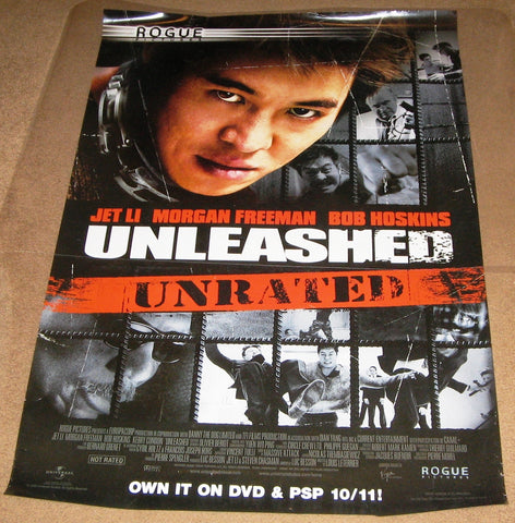 Unleashed Unrated Movie Poster 27x40 Used Jet Li, Tamer Hassan, Morgan Freeman, Christian Gazio, Vincent Tulli, Alain Barbier, Patrick Medioni, Patrick Vo, Vincent Haquin, Joseph Beddelem, Michael Jenn