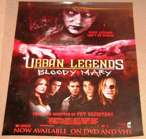 Urban Legends Bloody Mary Movie Poster 17x24 Used Maggie Munro, Ed Marinaro, Jeff Olson, Jim Jepson, Rooney Mara, Don Shanks, Kate Mara, Haley McCormick, Nancy Everhard, Tina Lifford, Olesya Rulin