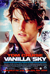 Vanilla Sky Movie Poster 27x40 Used Tom Cruise, Mark Pinter, Johnny Galecki, Michael Shannon, Tommy Lee, Cameron Diaz, Laurel Wiley, Tony Collucci, Conan O'Brien, Ken Leung, Steven Spielberg, Michael Kehoe