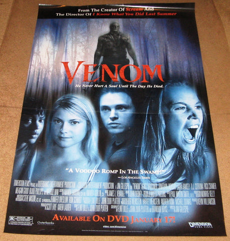 Venom Movie Poster 27x40 Used Marcus Lyle Brown, Method Man, Meagan Good, Stacey Travis, Agnes Bruckner, Laura Ramsey, Bijou Phillips, Jonathan Jackson, Rick Cramer, Deborah Duke, James Pickens Jr