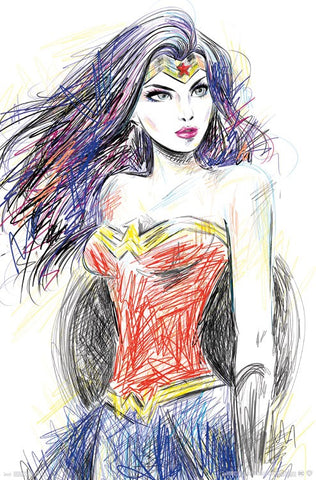 Wonder Woman - Sketch RP15735 22x34 Movie Poster UPC882663057351 DC Comics