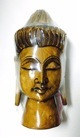 "wooden buddha head round fine antq 8"" - Nakashi International LLC"