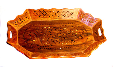 Aakashi Carved Shesham Tray - Nakashi International LLC