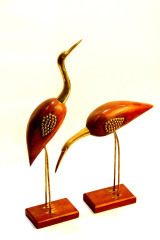 Aakashi Wooden & Brass Swan Set - Nakashi International LLC