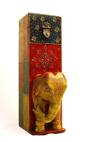 Aakashi Hand-Carved Multi-Color Elephant Wine Bottle Holder - Nakashi International LLC