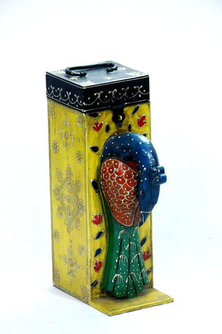 Aakashi Hand-Craved Peacock Wine Bottle Holder - Nakashi International LLC