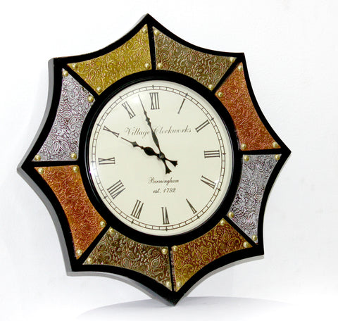 Aakashi Ashtkon Mix Metal Wall Clock - Nakashi International LLC