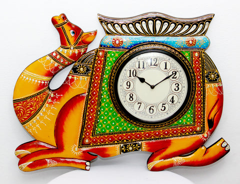 Aakashi Carved Camel Wall Clock - Nakashi International LLC