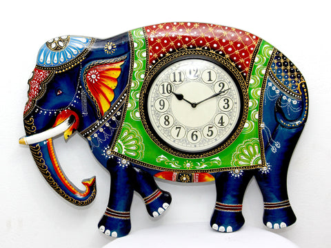 Aakashi Carved Elephant Wall Clock - Nakashi International LLC